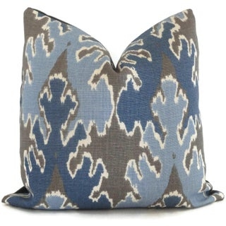 "20"" X 20"" Indigo Blue Ikat Pillow Cover Lee Jofa Square Preview"