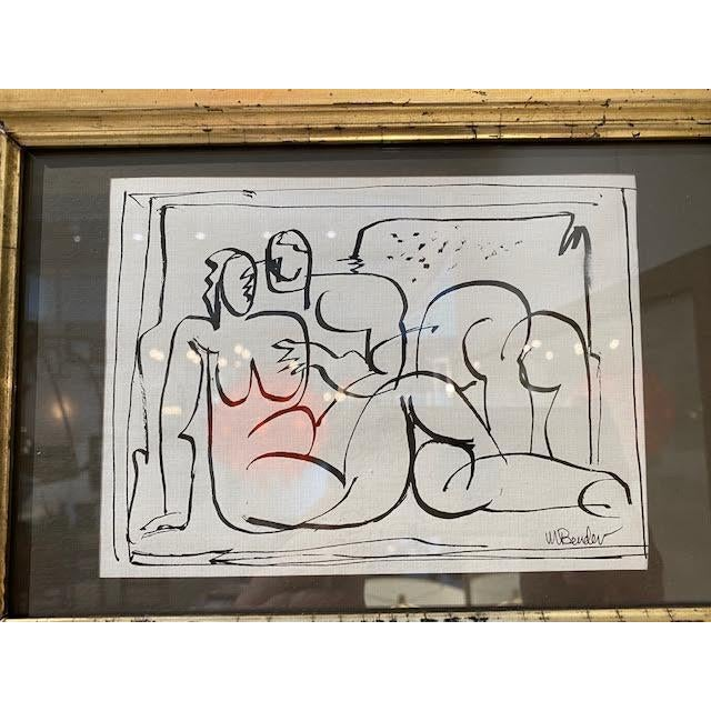 Great mid-century nude figural study, signed by artist Mae Bender, in the style of Henri Matisse, pen and ink on paper....