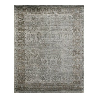 Oxford Hand knotted Bamboo/Silk Aqua Rug-8'x10' For Sale