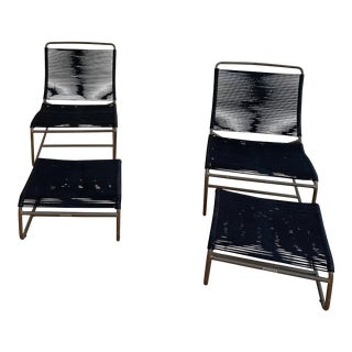 Walter Lamb Outdoor Lounge Chairs With Ottomans - 4 Pieces For Sale