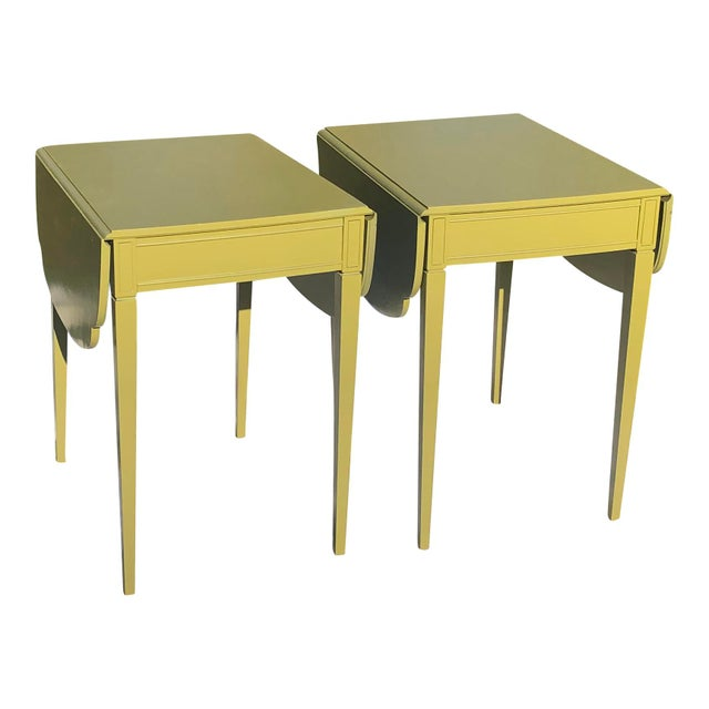 Hollywood Regency Mid 20th Century Mid Century Lacquered Pembroke Tables - a Pair For Sale - Image 3 of 7