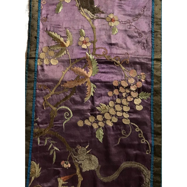 Purple Chinese Embroidered Silk Textile-Runner For Sale - Image 8 of 12