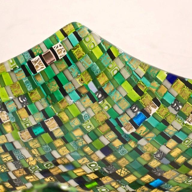 Modern Italian Jewel-Like Green Yellow & 24Kt Gold Murano Art Glass Mosaic Bowl For Sale In New York - Image 6 of 11