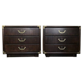 Mid-Century Campaign-Style Drexel Accolade Line Nightstands - a Pair