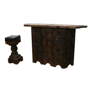 1960s Witco Mid-Century Modern Hand-Carved Tiki Bar With Stool - 2 Pieces For Sale