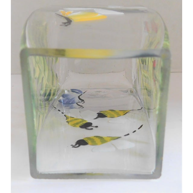 Glass Hand-Painted Vintage Flora & Fauna Glass Vase For Sale - Image 7 of 12