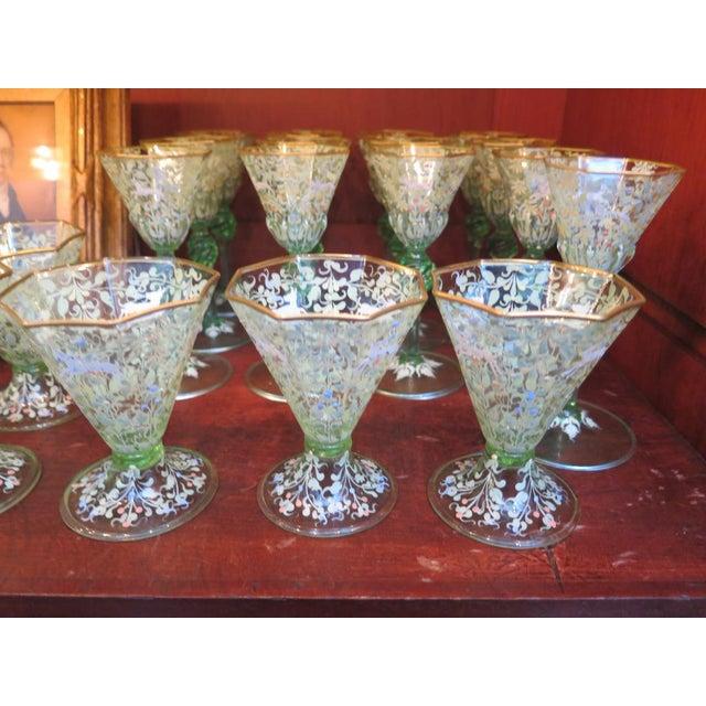 """Blown Glass Ferro Toso Barovier """"Regina Margherita"""" Venetian Stemware, circa 1937 For Sale - Image 7 of 11"""