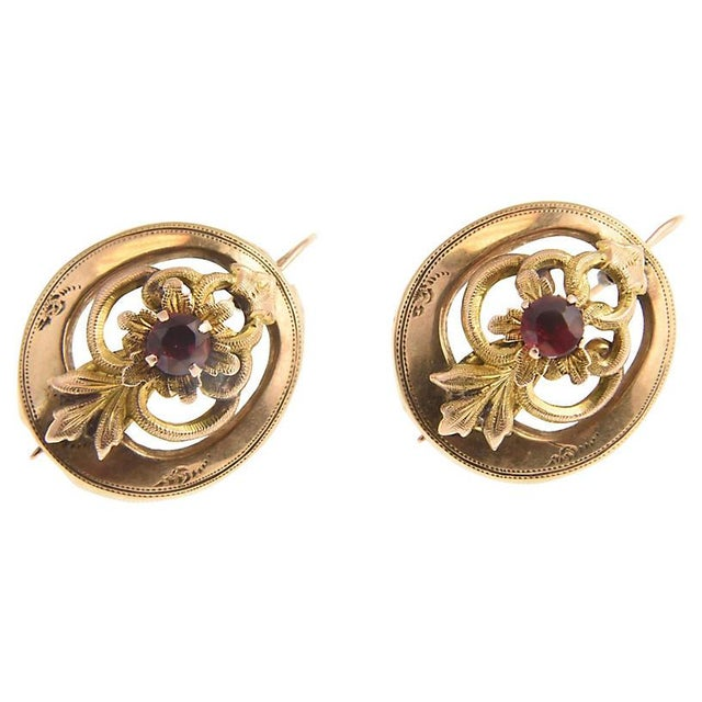 Late 19th Century Victorian Garnet & 14k Gold Floral Earrings For Sale - Image 5 of 7