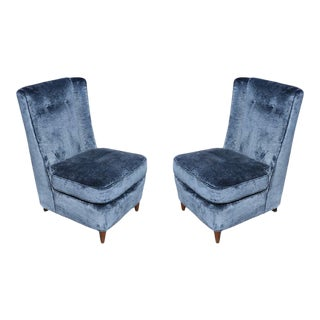 Pair of Paul Laszlo High Back Slipper Chairs For Sale