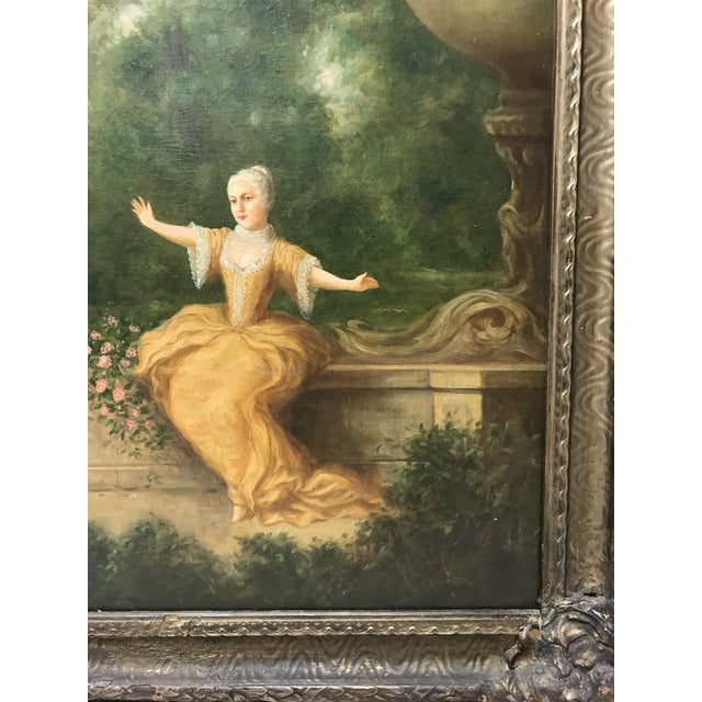Antique French Oil Painting on Canvas For Sale In Tampa - Image 6 of 10