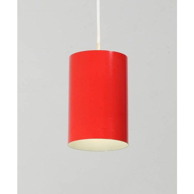 Contemporary Louis Poulsen set of 8 Minimalist Pendants in Red, Denmark, 1960s For Sale - Image 3 of 6