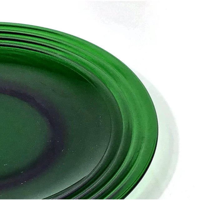 Anchor Hocking 1950s Deep Green Glass Dinner Plate - a Pair For Sale - Image 4 of 7