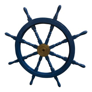 "Large 36"" Blue Lacquered Ships Wheel For Sale"