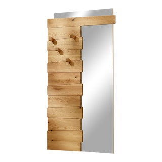 Italian Modern Mirror With Oak Frame For Sale