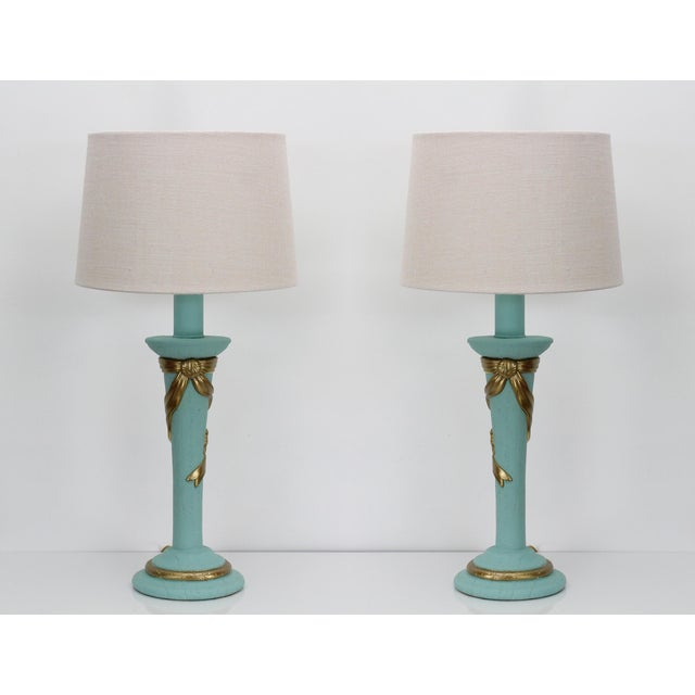 Mid-Century Plaster Ribbon Table Lamps After Dorothy Drapper For Sale - Image 12 of 12