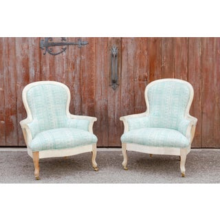 Pair of Blockprint Bergere Bleached Chairs Preview