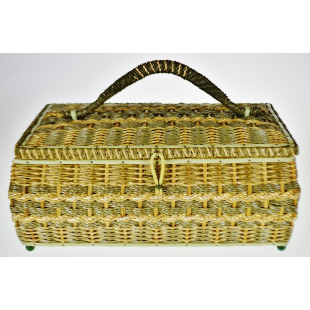Vintage Japanese Wicker Sewing Basket Condition consistent with age and history. Some discolorations/ wear to inner...