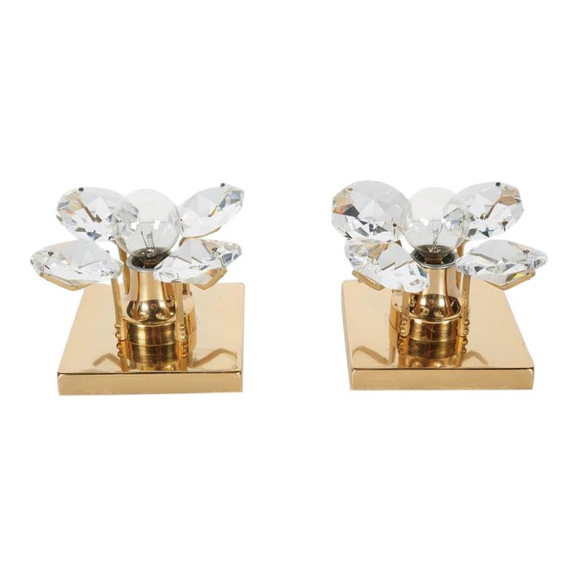 Pair of Cut Crystal and Gold Hollywood Regency Sconces by Christoph Palme For Sale