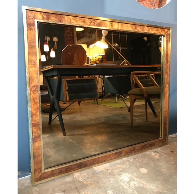 Tommaso Barbi, attributed oversized modern brass wall mirror, Italy, 1970s. Rectangular mirror in double frame, the...