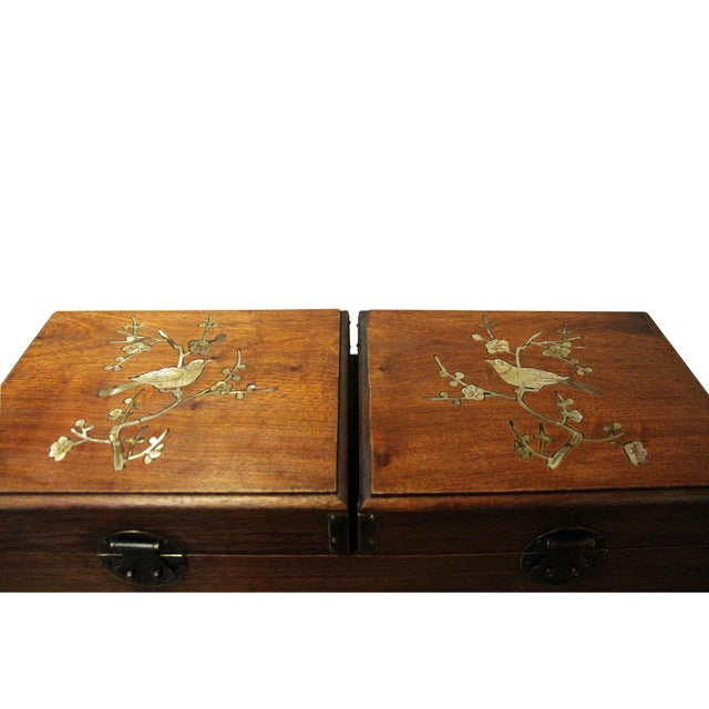 Wood Chinese Huali Rosewood Mother of Pearl Inlay Jewelry Storage Box Chest For Sale - Image 7 of 9