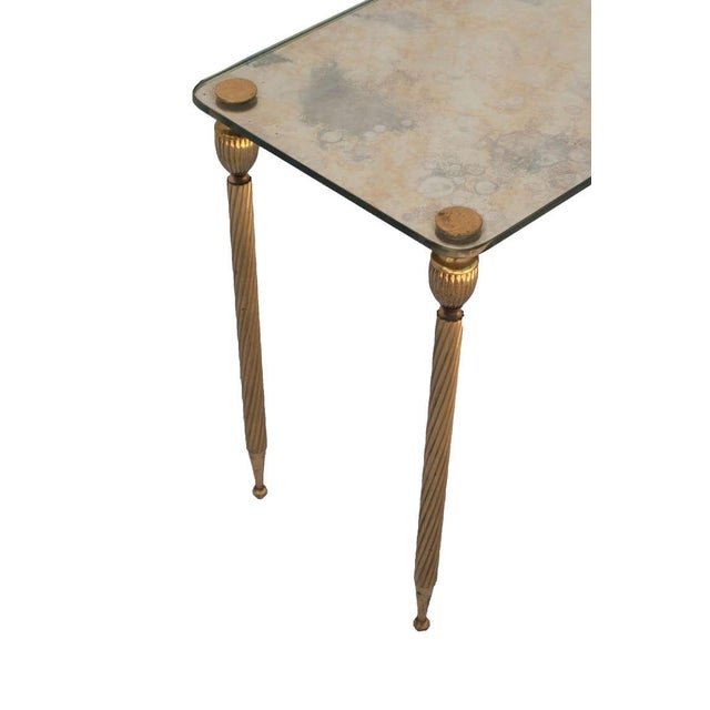 French A Set of Three Brass Side Tables With Mirror Tops For Sale - Image 3 of 4