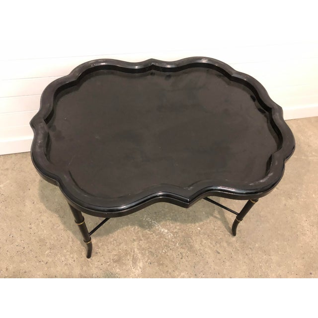 19th Century Regency Papier-Mache Tray on Stand For Sale - Image 4 of 12