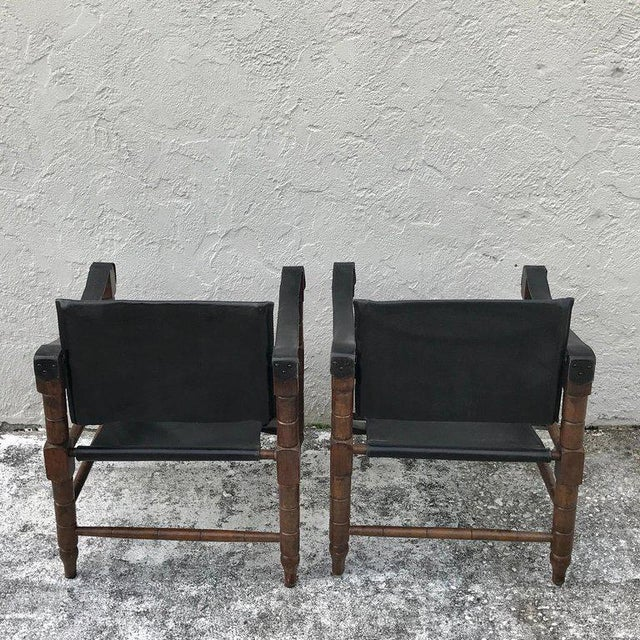 Pair of Syrian Leather Campaign / Safari Chairs For Sale - Image 10 of 12