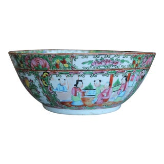 Large Chinese Export Rose Medallion Punch Bowl For Sale