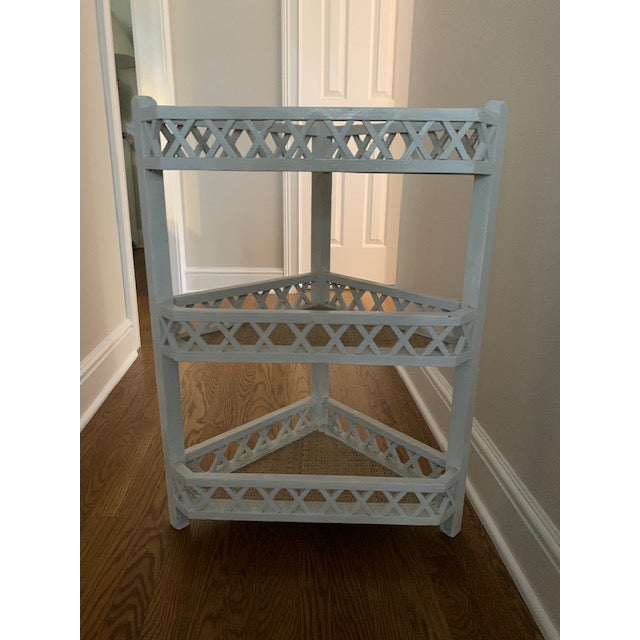 Shabby Chic Shabby Chic Corner Lattice Shelf/Plant Stand With Rattan Lining For Sale - Image 3 of 7
