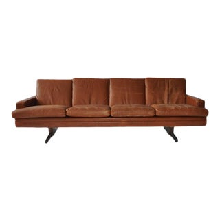 Fredrik Kayser Leather and Rosewood Sofa For Sale
