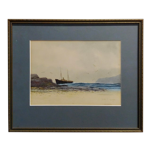 Ethel Turner -Ship Near the English Coast -Watercolor Painting-C1920s For Sale