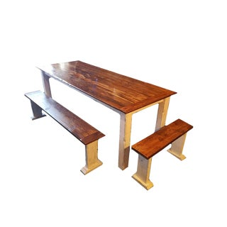 Reclaimed Barnwood Top Dining Table & Benches