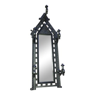 Antique Gothic Cast Metal Coat Rack With Mirror For Sale