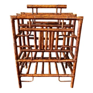 Vintage Burnt Bamboo Magazine Rack For Sale