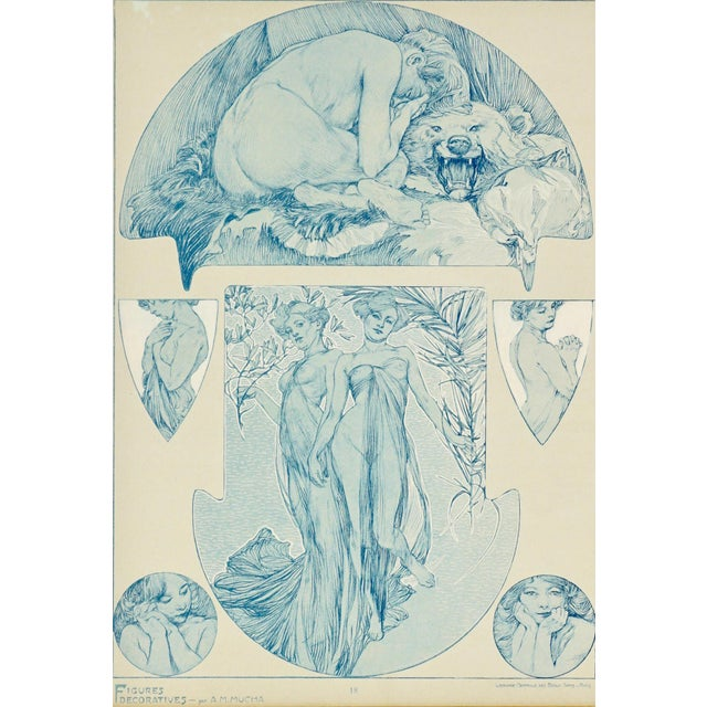 Alphonse Mucha 1900s Vintage Alphonse Mucha Collotype Poster For Sale - Image 4 of 6