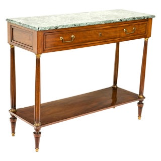 French Empire Mahogany Console with Green Marble Top For Sale