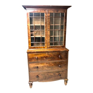 1830's William IV Bookcase With Drop Front Secretary Desk For Sale