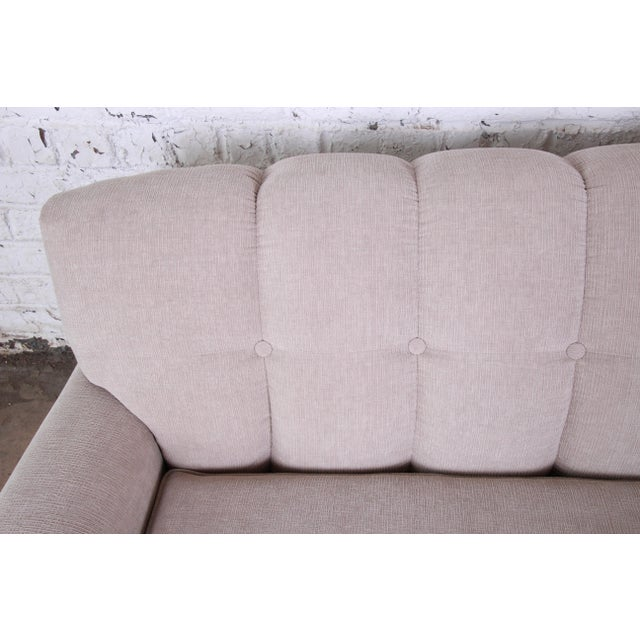 Mid-Century Modern Curved Tufted Sofa, Newly Reupholstered For Sale - Image 9 of 12