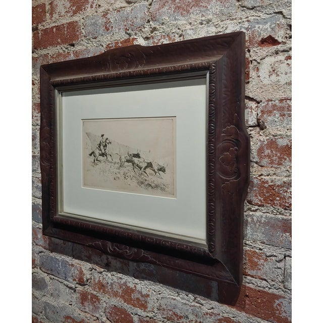 Etching Edward Borein -Cowboy Rounding Up Cattle -1930s Etching For Sale - Image 7 of 9