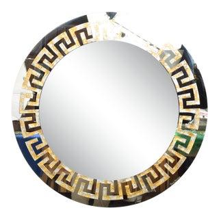 David Marshall Round Wall Mirror in Eglomized Greek Key Motiff Spain, Modern 70s For Sale