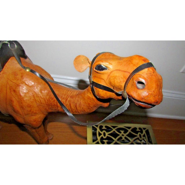 Animal Skin Handcrafted Leather Wrapped Paper Mache Giraffe and Camel - Set of 2 For Sale - Image 7 of 12
