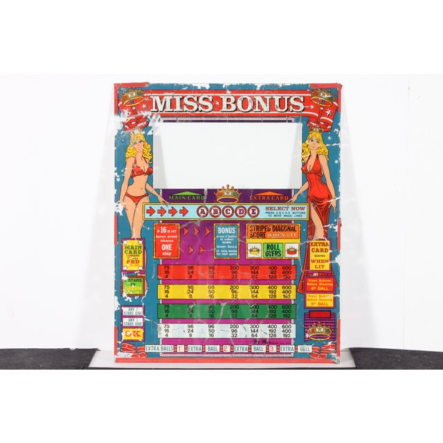 "Wi-MI ""Miss Bonus"" Pinball Glass - Image 2 of 3"