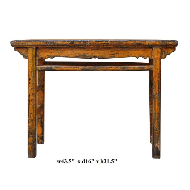 Distressed Orange Chinese Rustic Table - Image 7 of 7