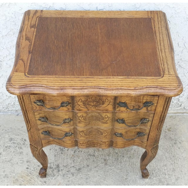 Brown 20th Century French Provincial Oak Nightstand For Sale - Image 8 of 11