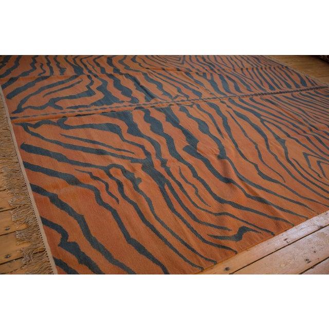 """Old New House Vintage Indian Tiger Kilim Design Carpet - 9'1"""" X 12'1"""" For Sale - Image 4 of 9"""