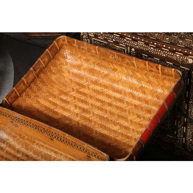 Turn of the Century Chinese Woven Rattan and Bamboo Pillow Basket from Shanghai For Sale In New York - Image 6 of 11