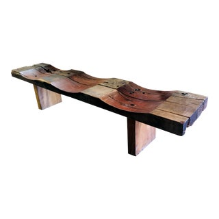 Solid Antique Teak Wood Wave Bench or Table For Sale