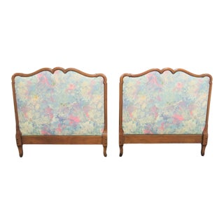 20th Century Louis XV Style Cherry Upholstered Twin Headboards - a Pair For Sale