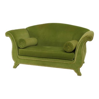 Italian Green Velvet Loveseat For Sale