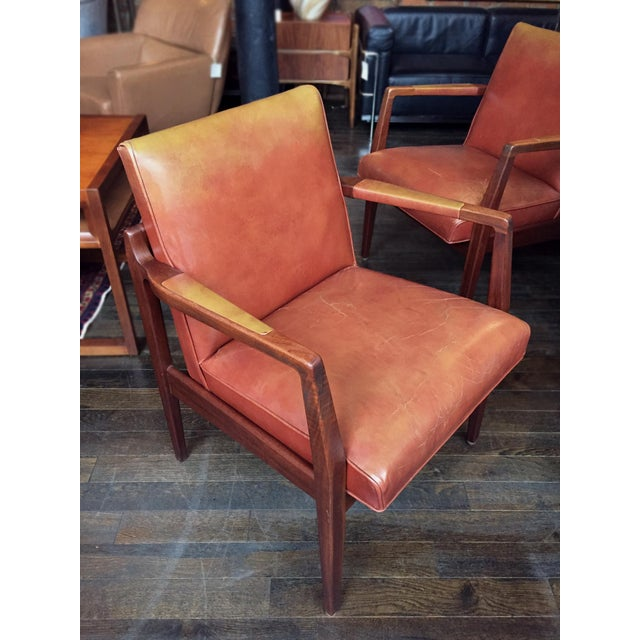 63b3c10cfb7d9 Mid 20th Century Restored Mid-Century Leather Armchairs in the Style of Jens  Risom -
